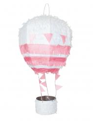 Piñata montgolfière rose et blanche 56 cm