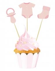 3 Cake toppers bébé rose 20 cm