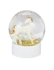 Boule à neige licorne blanche et dorée 13 cm
