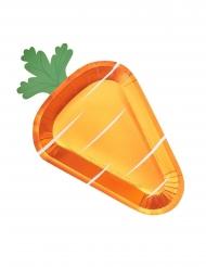 8 Grandes assiettes carotte métallisées 35 cm