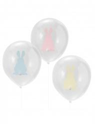 9 Ballons en latex transparents lapinou roses, bleus et jaunes 30 cm