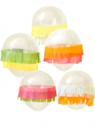 5 Ballons en latex avec franges multicolores 30 cm