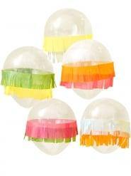 5 Ballons en latex avec franges multicolores 30 cm