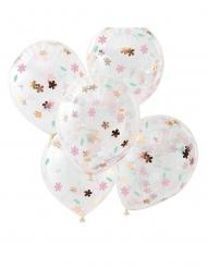 5 Ballons en latex transparents confettis fleurs pastel 30 cm