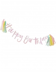 Guirlande en carton Happy Birthday iridescente avec tassels 2 m