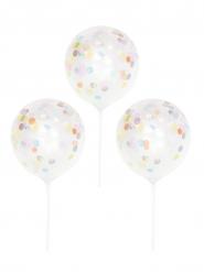 5 Ballons sur piques transparents confettis 13,5 cm