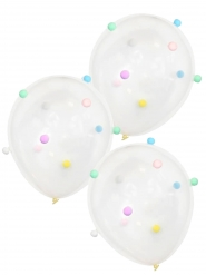 5 Ballons en latex transparents pompons multicolores 30 cm