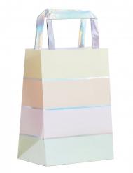 5 Sacs cadeaux en papier pastel iridescent 25 cm