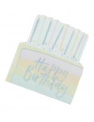 16 Serviettes en papier Happy Birthday pastel iridescent 30 cm