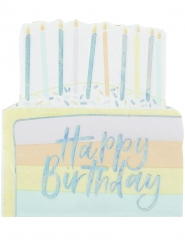 16 Serviettes en papier Happy Birthday pastel iridescent 30 cm