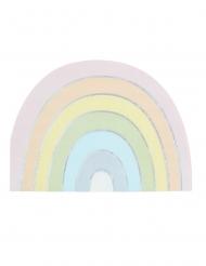 16 Serviettes en papier forme arc-en-ciel pastel iridescent 33 cm