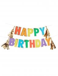 Guirlande en carton Happy Birthday multicolore métallisée 3 m