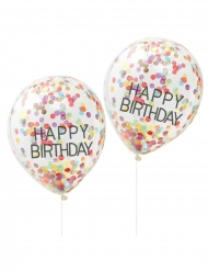 5 Ballons en latex transparents Happy birthday confettis multicolores 30 cm