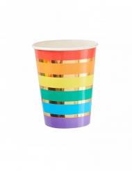 8 Gobelets en carton arc-en-ciel multicolores 266 ml
