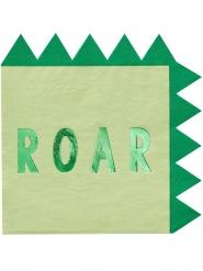 16 Serviettes en papier dinosaure vertes métallisées 33 cm