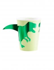 8 Gobelets en carton dinosaure verts métallisés 266 ml