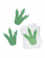 6 Stickers empreintes de dinosaure vertes 18 cm