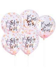 5 Ballons en latex transparents Baby Girl confettis rose 30 cm