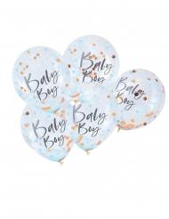 5 Ballons en latex transparents Baby Boy confettis bleu 30 cm