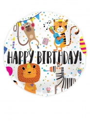 Ballon aluminium happy birthday animaux 45cm