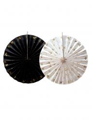 2 Rosaces en papier noires et blanches 35 cm