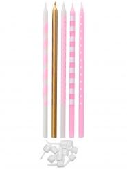10 Bougies anniversaires roses et dorées 15,5 cm