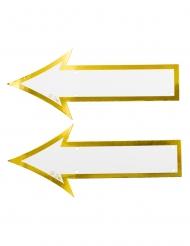 2 Pancartes directionnelles en carton blanches et dorées 35 x 15 cm