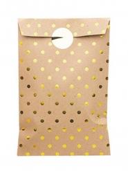 8 Sachets en papier kraft avec pois dorés 13 x 20 cm