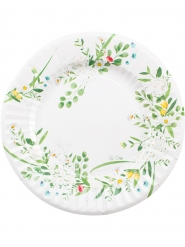 8 Assiettes en carton Garden Party blanches 27 cm
