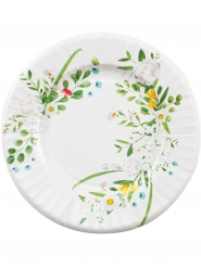 8 Petites assiettes en carton Garden Party blanches 21 cm