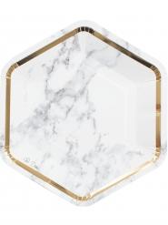 8 Assiettes en carton Marbre blanc et doré 23 cm