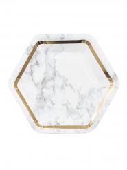 8 Petites assiettes en carton Marbre blanc et doré 18 cm