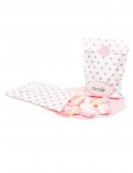 10 Sachets en papier avec stickers blancs et roses 13 x 20 cm