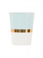 8 Gobelets en carton blancs et bleus dorure 250 ml