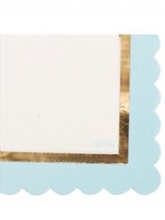 16 Serviettes en papier blanches et bleues dorures 33 x 33 cm