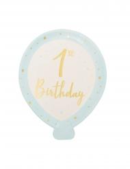 8 Petites assiettes en carton 1st Birhtday bleues 20 x 24 cm