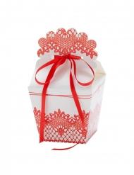 4 Boîtes en carton blanches et roses avec ruban 7,5 x 8 cm