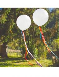 Ballon blanc avec rubans en satin multicolores 50 cm x 1 m