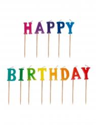 13 Bougies sur piques Happy Birthday 2,5 x 8 cm
