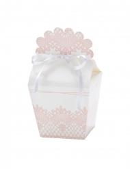 4 Boîtes en carton dentelle blanches et roses 7,5 x 8 cm