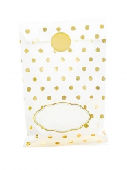 8 Sacs en papier blancs et pois dorés avec stickers 13 x 20 cm