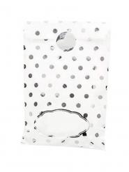 8 Sacs en papier blancs et pois argentés avec stickers 13 x 20 cm