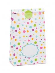 8 Sacs en papier blancs et pois multicolores avec stickers 12 x 21 cm
