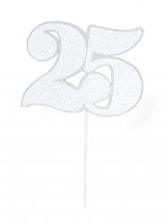 Maxi pic en carton chiffre 25 argenté pailleté 31 cm