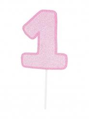 Maxi pic en carton chiffre 1 rose pailleté 31 cm
