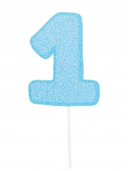 Maxi pic en carton chiffre 1 bleu pailleté 31 cm
