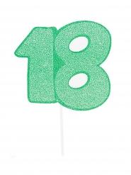 Maxi pic en carton nombre 18 vert pailleté 31 cm