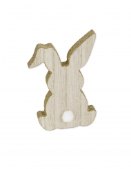 Lapin en bois paillettes or et queue pompon blanc 12 x 8 x 1,5 cm