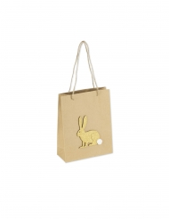 Sac kraft lapin paillettes or et queue pompon blanc 20 x 24,5 cm