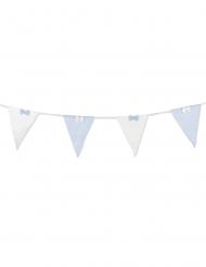 Guirlande 10 fanions tissus rayés bleu et blanc nœuds 2,8 m